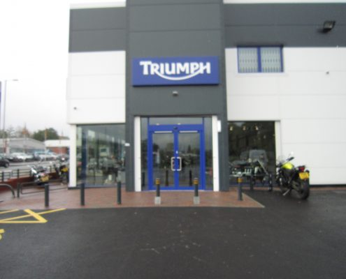 Triumph motorcycles front door