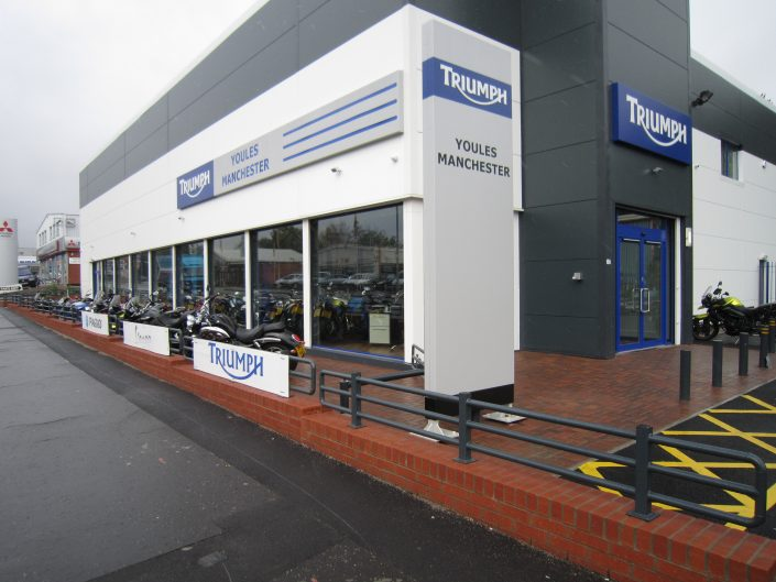 Recently completed aluminium shop front for Triumph Motorcycles