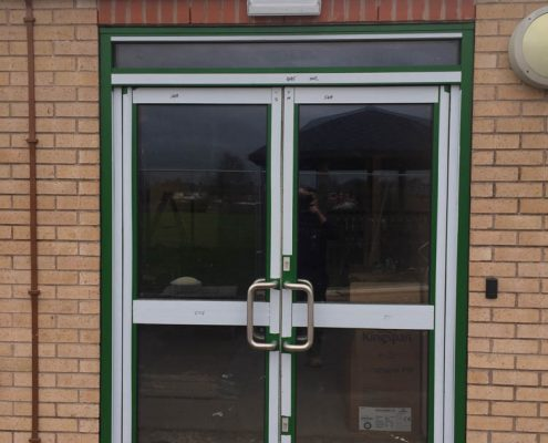 aluminium door installation Rudheath Primary School