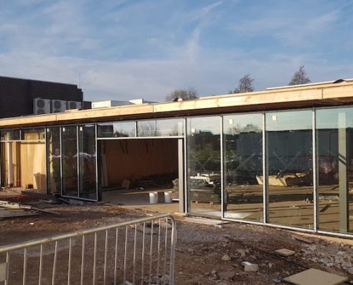 Curtain walling system install in Cronton